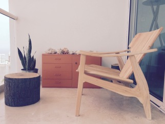 Our two new blank wooden chairs, handmade especially for us by Guillermo.
