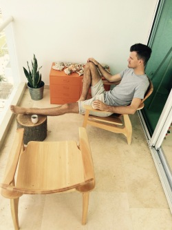 Enjoying our new wooden chairs