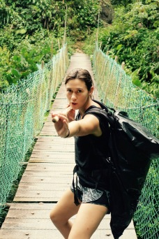 Ms. Laura Croft, staying even cooler while crossing the most dangerous bridge in the valley